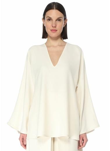 Valentino Valentino  V Yaka Kolları Volanlı Bluz 101619554 Beyaz